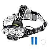 Linkax Linterna Frontal LED Linterna de cabeza USB recargable Luz Frontal Lampára de Cabeza 2000LM y 6 Modos Impermeable Para Camping Pesca Ciclismo Carrera Caza (Batería 18650 incluida)
