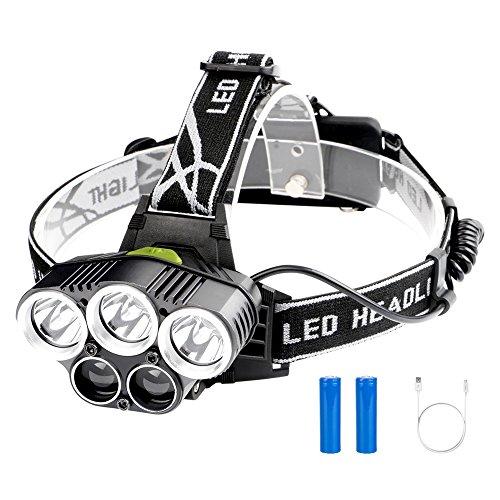 Linkax USB Wiederaufladbare LED Stirnlampe Kopflampe Superheller 2000 Lumen Stirnlampen 5 LED 6 Modi wasserdicht für Joggen Laufen Angeln Campen Angeln Kinder(2 x 18650 Lithium Akku enthalten)