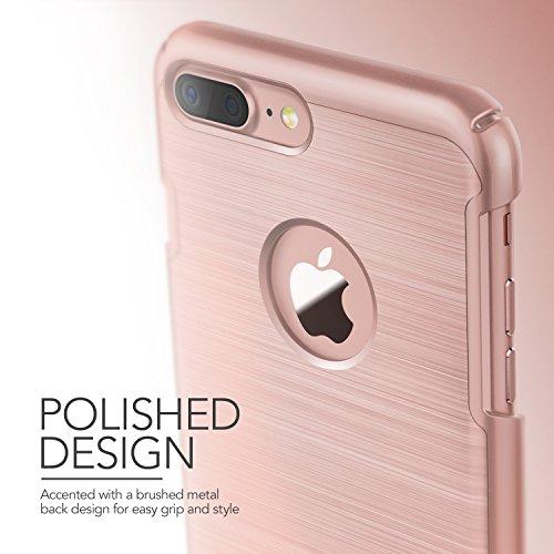 iPhone 7 Plus Hülle, VRS Design [Simpli Lite Serie] Minimalistisch Schlanke und Schwerlast Schutz mit Klappständer für Apple iPhone 7 Plus 2016 - Rose Gold Rosa Gold