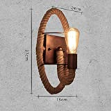 Cosa apliques de pared lámpara de mesilla lámpara lámpara colgante de pared Dormitorio Retro escalera creativa pastura Pasillo hierro Lámparas de cuerda de cáñamo (Color : #B)