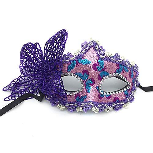XAOBNIU Halloween Maske Schmetterling Half Face Prinzessin Party Maskerade Sexy weibliche Maske (Farbe : Purple)