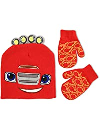 Nickelodeon Toddler Boys Blaze and The Monster Machines Acrylic Knit Winter Beanie Hat with 3D Felt Applique Headlights and Matching Gripper Mitten Set with Flame Print