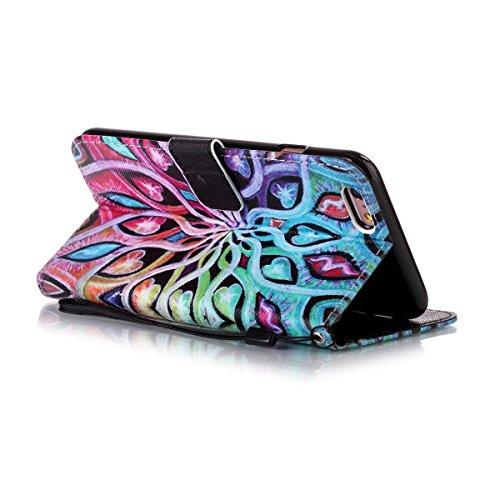 Etsue Handytasche für iPhone 6 Plus/6S Plus (5.5 Zoll) Blau, Brieftasche Hülle für iPhone 6 Plus/6S Plus (5.5 Zoll) [Wald Baum] Muster Lederhülle Handyhülle Einzigartig Flip Hülle Leder Schutzhülle Vi Bunt Mandala Blumen