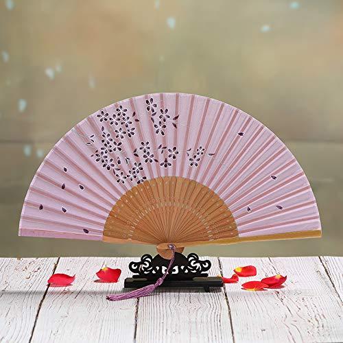 Lila Kostüm Licht - XIAOHAIZI Handfächer,Sommer Chinesischen Stil Frauen Bambus Fan Licht Lila Hohlen Kirschblüten Vintage Faltfächer Geeignet Für Hochzeit Dame Geschenk Tanz Fan U-Bahn Faltfächer