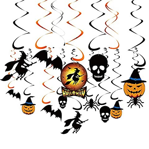Kuuqa Halloween Party Suspension Swirl Decoration Scary Theme Décorations de plafond Witches Bats Spider Skull Swirl Hanging Cards 34 Pieces
