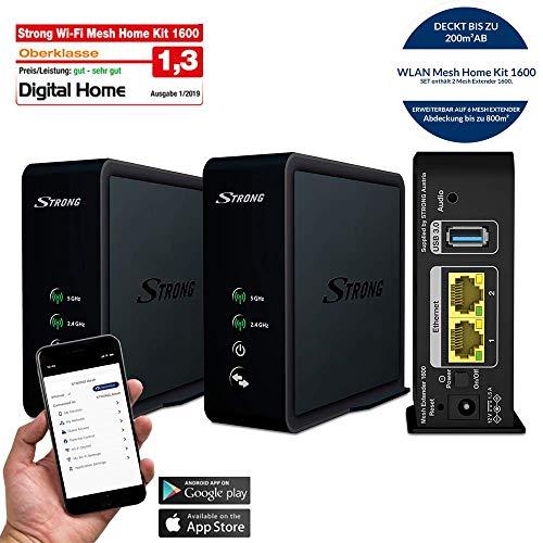 STRONG Wi-Fi Mesh Home Kit 1600, WLAN Verstärker, Heimnetzwerk Repeater bis 200 m² Abdeckung, bis 1600 Mbit/s, 2.4+5 GHz, 2x Gigabit LAN, USB 3.0) schwarz Usb Wifi Transmitter