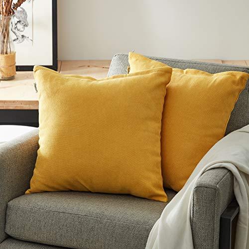 Topfinel juego 2 Hogar Algodón Lino Decorativa Almohadas Fundas de Color sólido para Sala de Estar sofás Amarillo 45x45cm