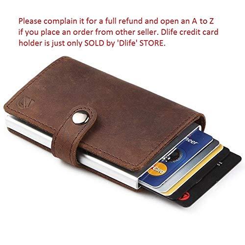 Dlife Tarjetero RFID Cartera Crédito, Cartera de Aleación de Aluminio Multiuso Bolsillos, Cuero PU Exterior Automáticas Desplegables para Hombres y Mujeres (Marrón Oscuro)