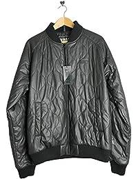 Addict Clothing AM4804C Mens Black Virtual Leather PVC Bomber Jacket