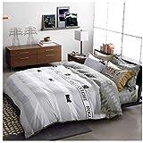 Draps Les à Rayures Grises sont des oreillers en Coton à Quatre pièces Home Textiles Literie Simple Four Seasons MUMUJIN (Taille : 1.8m)