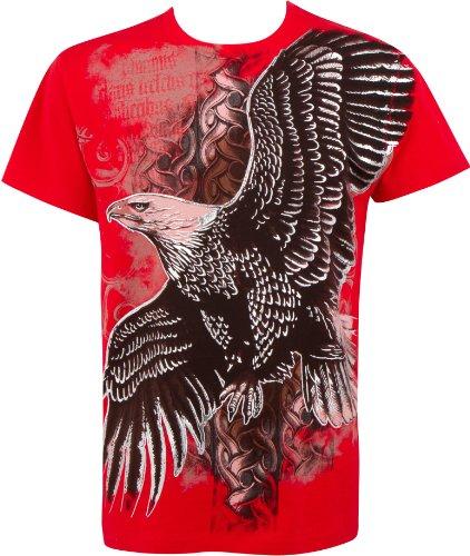 Sakkas Volare Silver Eagle Metallizzato Goffrato Cotone da Uomo t-Shirt di Moda - Rosso/Large