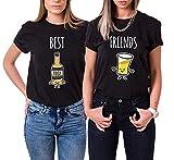 2X Damen T-Shirt - Tequila & Bier - Best Friends BFF, Tequila M, Bier S, Schwarz