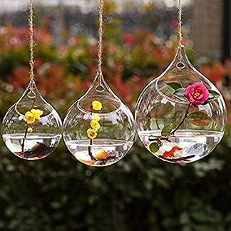 Wicemoon 3pcs Cuelgue La Pared del Florero Colgante de Cristal Florero Florero Redondo Transparente Botella Hidropónica Boda Jardín Decoración con Cuerda de Lino Fino