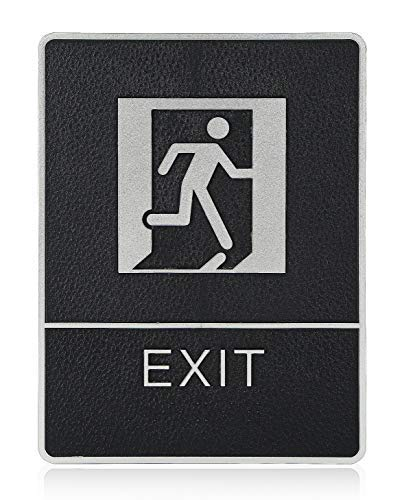 """mengliangpu8190 Tin Sign Exit Symble ADA Compliant Braille Sign Large 6""""X9"""" with Double Sided 3M Tape"""