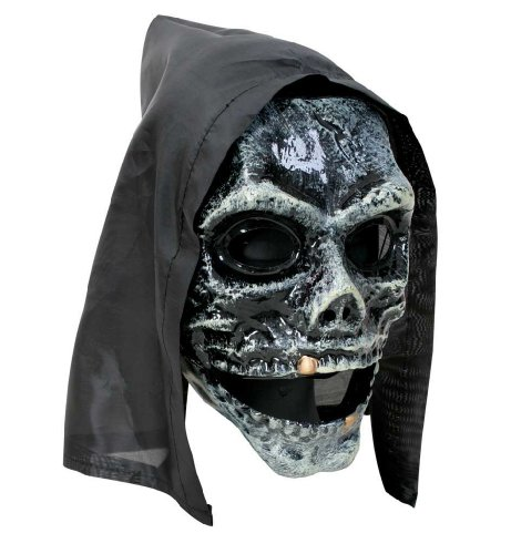 Halbmaske Horror mit Haube, für Erwachsene, Universalgröße, Unisex, Halloween, Horrormaske, Skelettmaske, Schädelmaske, Maske, Kunsstoffmaske, Kapuzenmaske, Halloweenmaske, Kostümzubehör, Verkleidung