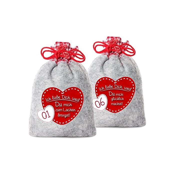 24 Adventskalender Säckchen aus Filz mit 24 Gründen Ich Liebe Dich, Weil - 2017 (für Erwachsene Männer & Frauen geeignet) für Weihnachtskalender/Adventskalender zum Befüllen