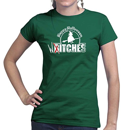 Womens Happy Halloween Witches Bitches Funny Ladies T Shirt (Tee, Top) Forest Green