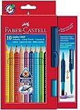 Faber-Castell 110914 - 10 Jumbo GRIP Buntstifte, inklusive CLIC & GO, Pinsel...