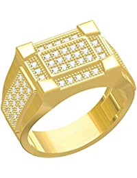 Spangel Fashion Designer 18 Ct. Gold Plated American Diamond Jewellery Ring For Men - B078578C87