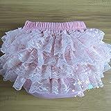 Viskey - Cubrepañal con volantes para niña (algodón, encaje) rosa rosa Talla:niños: XL