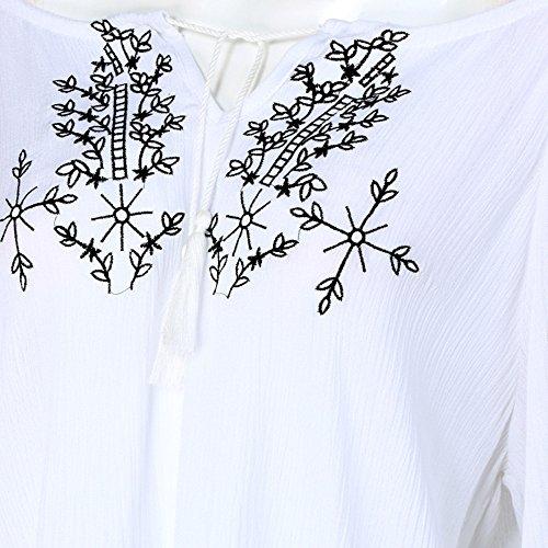Yogogo Mode Femmes été unique manches longues brodé en vrac Casual Blouse Blanc