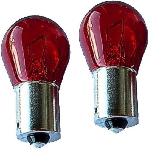 2er Pack Glühlampen rot 12V 21W, rote Birnen Glühbirnen, Ba15s,2*x, 0932