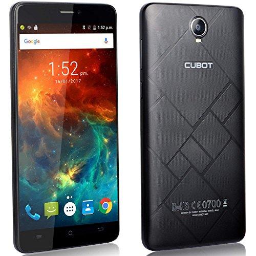 Cubot max 4g smartphone display 6 pollici, batteria 4100mah, 3gb ram + 32gb rom, octa-core, fotocamera 13mp, android6.0, dual sim, ips 2.5d schermo curvo nero [cubot officiale]