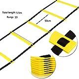 Attrezzatura Sportiva Best Deals - KRY Calcio Pace Ancheer Formazione regolabile agilità Yellow Ladder salto Lattice Velocità Energia Scala coperta (5,5 m, 10 circa)