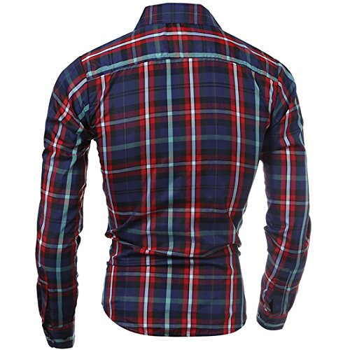 Jeansian Hommes Fashion Shirt Chemises Casual Manches Longues Men's Slim Fit Plaid Shirts Tops 84B5 red