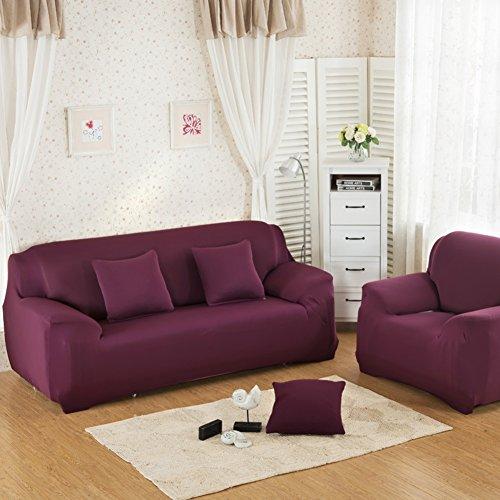 Wayward Elastische schonbezug Sofa,Volltonfarbe Stretch sofabezug Couch Anti-rutsch Couch-abdeckungen Möbel-Protector für 1 2 3 4 Kissen Sofa Für Hund und Kinder Sofa Handtuch-Lila-D Sessel