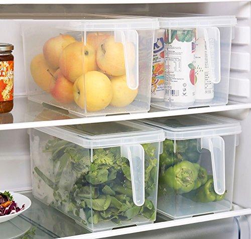 Organizador de alimentos HapiLeap para cocina/congelador, contenedor transparente con tapa y asa