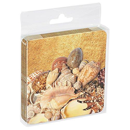 Baumfreie Grüße Eco Untersetzer BOX SET OF 4Drink Untersetzer, 8,9x 8,9cm Strandmuschel