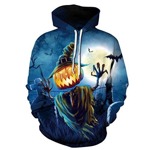 YiLianDa Halloween Herren Hoodie Lange Ärmel Kapuzenpullover Sweatshirt Tops Jacke Mantel (Hoodie Kostüme Halloween)
