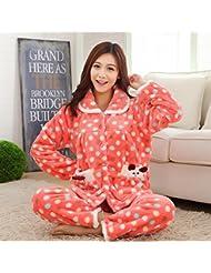 &zhou pijamas mujer ocio Rebeca mantenga invierno cálido pijamas gruesos conjuntos de ropa hogar , watermelon red , xxl