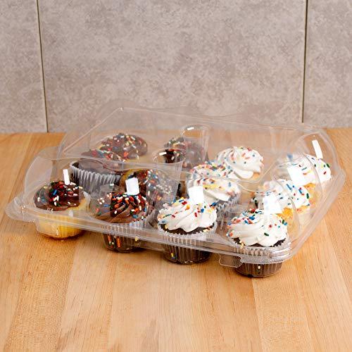 5 hohe Kuppel-Cupcake-Boxen mit 12 Fächern, transparenter Kunststoff, langlebige Cupcake-Halterungen, Einweg-Gebälde, Muffin-Tabletten, Cupcake-Verpackung, Transporter (Cupcake-kuppel)