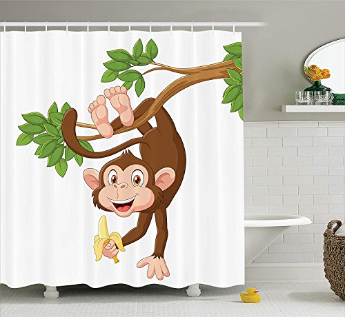 Cartoon Decor Shower Curtain Set, Funny Monkey Hanging from Tree and Holding Banana Jungle Animals Theme Mascot Print, Bathroom Accessories, Chocolate White,Size:66W X 72L Inche 66 Chocolate Mold