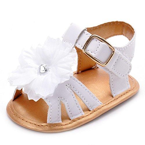 Estamico, Scarpe primi passi bambini, sandali bambina Bianco
