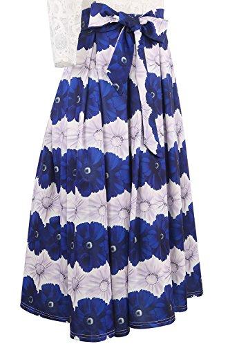 Minetom Donna Elegante Manica 3/4 Stampa Floreale Swing Abito A-line Vestito Con Arco Tutu Dress Banchetto Cocktail Blu