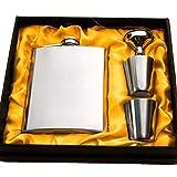 #6: Kairos Hip Flask Set 8oz Stainless Steel Liquor Hip Flask / Alcoholic Beverage Holder , 1 Hip Flask / 2 Shot Glass / 1 Funnel Set
