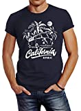 Neverless Herren T-Shirt California Surf Retro Bus Abenteuer Urlaub Palmen Slim Fit Navy L
