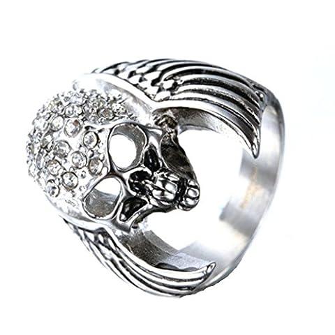 Bishiling Modeschumck Edelstahl Ring Herren Schädel Totenkopf mit Flügel Zirkonia Freundschaftsring Silber Ring Größe 54 (Amethyst Hängende Uhr)