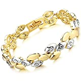 Rolicia Wheat Wave Gold Plate White Czech Crystal 17 cm Bracelet Bangle Link Swarovski Design Gift Box