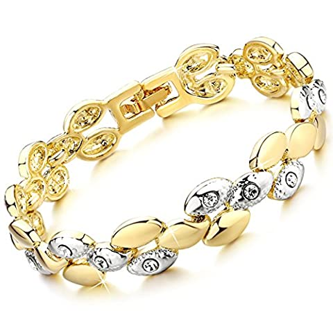 Rolicia Wheat Wave Gold Plate White Czech Crystal 17 cm Bracelet Bangle Link Swarovski Design Gift
