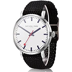 Women and Men Sports Casual Watches with White Dial Black Nylon Strap