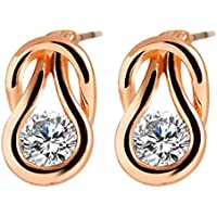 SaySure - Trendy Geometric Crystal Earrings Alloy Plated Silver