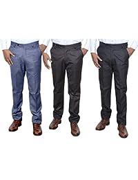 IndiWeaves Combo Offer Mens Formal Trouser (Pack Of 3) - B01JRQJN9Q