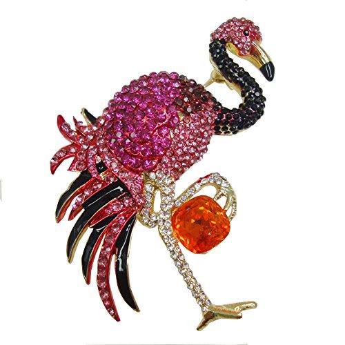 (ttjewelry Necklaces Halskette Elegant Pink Flamingo Vogel Brosche Pin Österreicher Kristall Frau Schmuck)