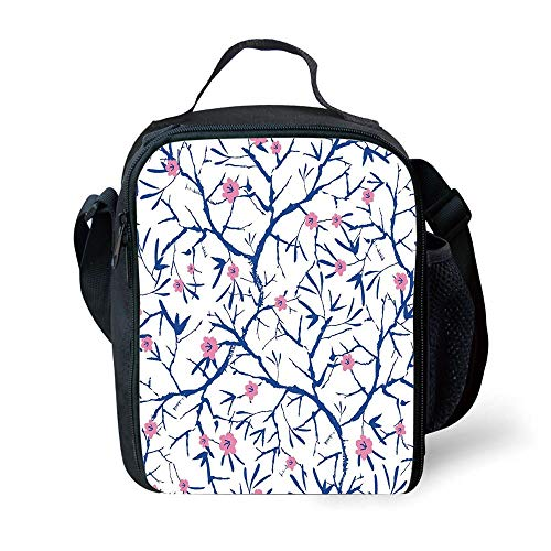 ZKHTO School Supplies Navy and Blush,Blooming Sakura Tree Branches with Grunge Display Artful Asian Nature,Violet Blue Pink for Girls or Boys Washable