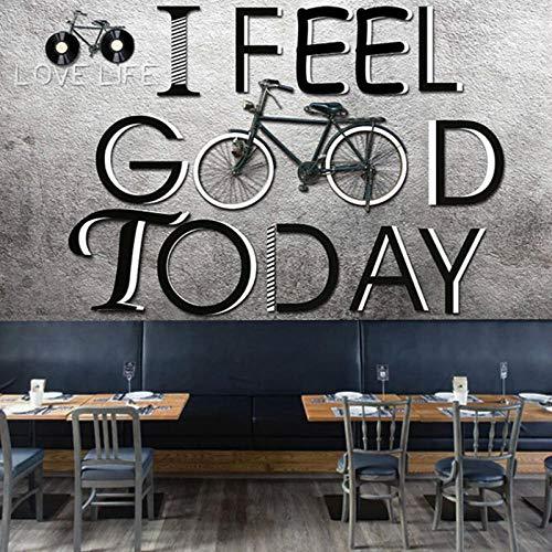 Fahrrad Ziegel Muster Brief Wandbild, Restaurant Café Bar Ktvwall Kunst Home Decor Seide Papel De Parede Fresco -A5