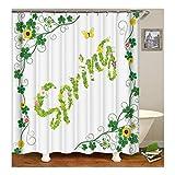Bishilin Bad Vorhang für Badezimmer Grün Bananenblatt Blumen Spring Anti Schimmel Duschvorhang Waschbar Polyester-Stoff 150X180